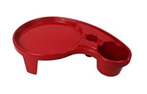Arron Kelly - Party Pals - One Handed Drink Holder, Napkin, Cutlery & Food Serving Tray with Hidden Handle - Dark Red - Breakfast Table for 1