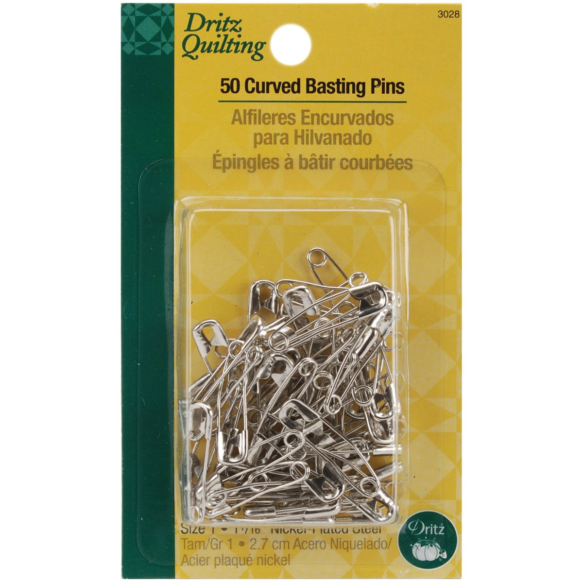 Dritz Quilting 3028 Curved Basting Pins, Size 1, 50 Count, Steel Size 1