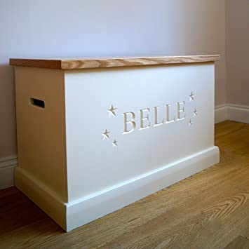 White Wooden Toy Box with Personalised