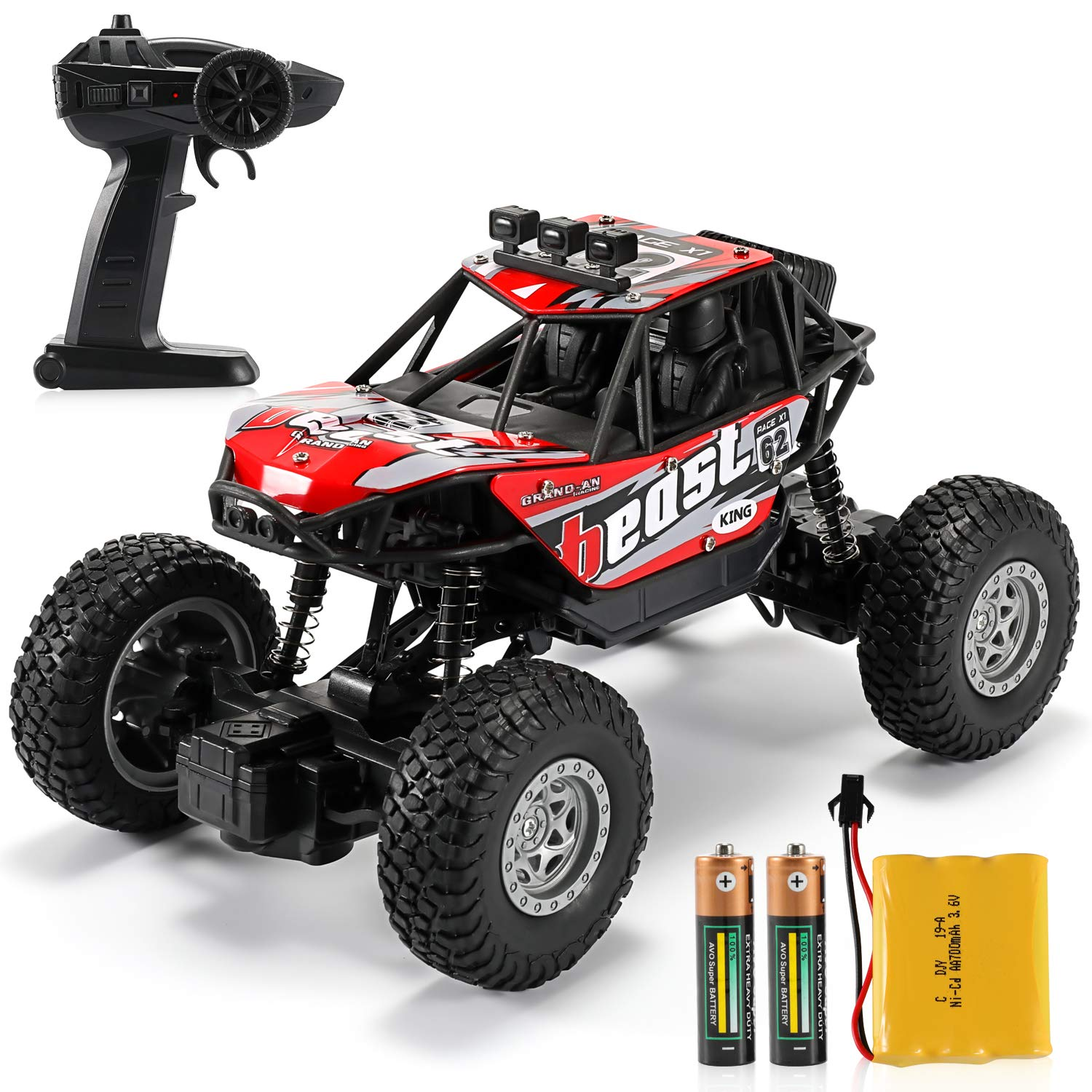 Dennov RC Truck Car, Remote Control Truck Car, 1/20 Scale Rechargeable RC Crawler Toy Car for Adults & Kids, Red