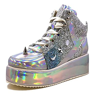 01c85a2b48 Amazon.com | YRU Qozmo Low Cyber Unicorn Platform Hologram Silver ...
