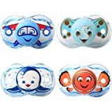 RazBaby Keep-It-Kleen Pacifiers - Pack of 4 (Adam Airplane, Elfy Elephant, Ethan Penguin and Finley Clown Fish)