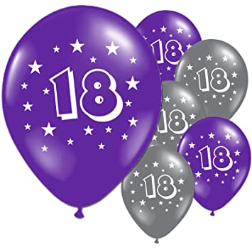 20 Purple And Silver 18th Birthday Party Balloons