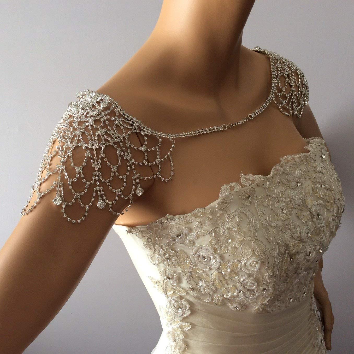 Amazon Com Wedding Shoulder Necklace Rhinestone Shoulder Jewelry