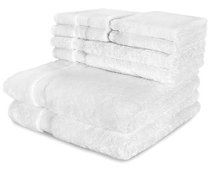 Toallas de lujo de 6 piezas blanco - 2 toallas de baño, 2 toallas de