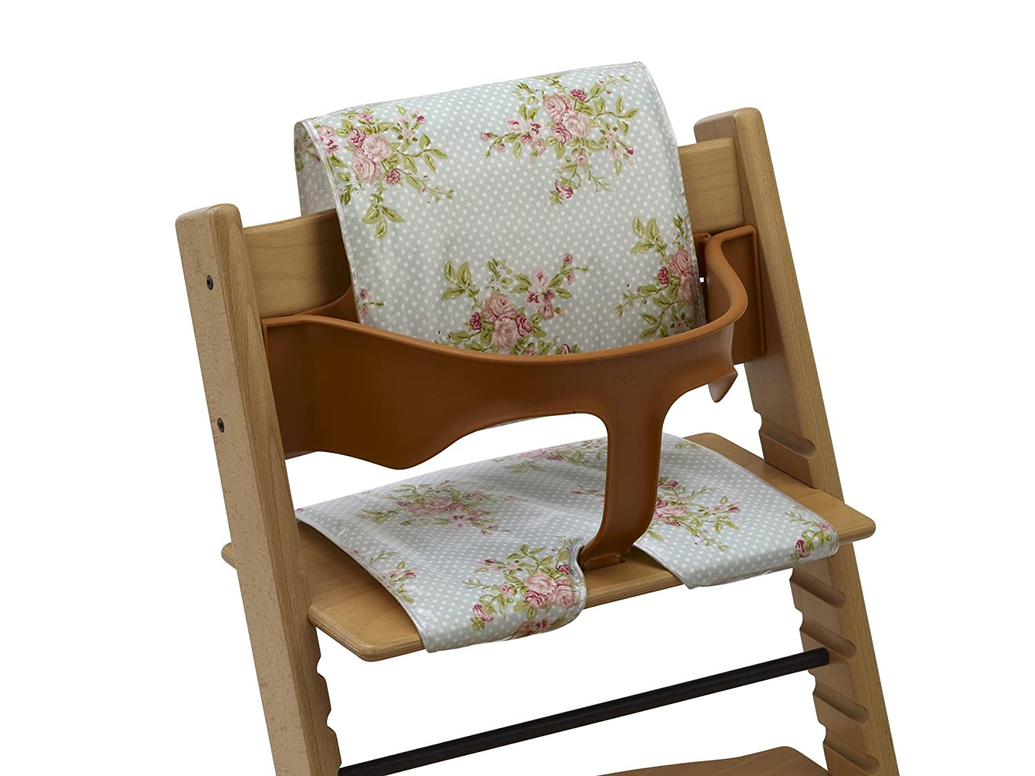 Highchair cushions - Wipe Clean oilcloth (Pastel Roses) Messy Designs Ltd
