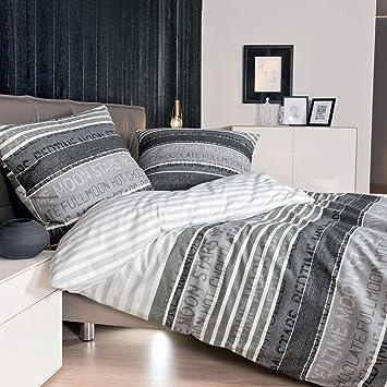 Janine Mako Satin Bettwäsche 155 X 200 Cm Satin Bettbezug Grau