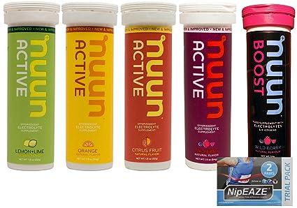 Comprimidos Electroliticos Nuun Active Hydration Electrolyte, 5 Tubos y Paquete de Prueba NipEaze (1