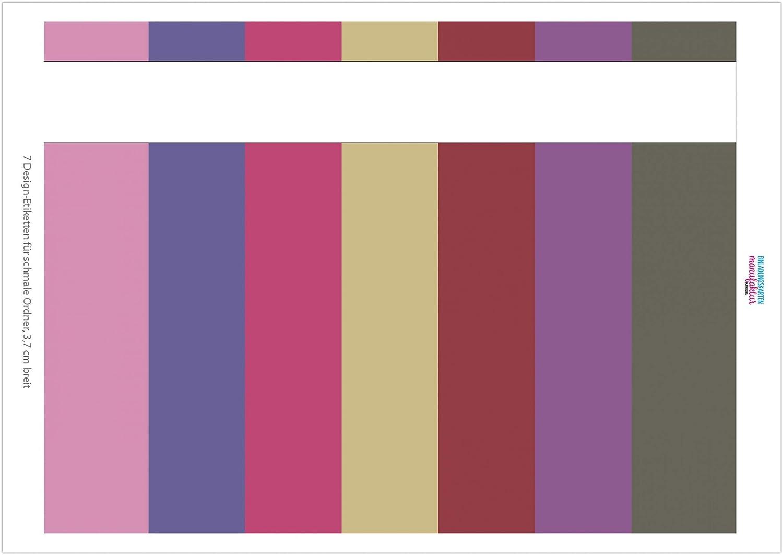 7 x selbstklebende Design R/ückenschilder f/ür schmale Akten-Ordner Farbmix M/ädchen 3,7 cm breite Etiketten zum Beschriften