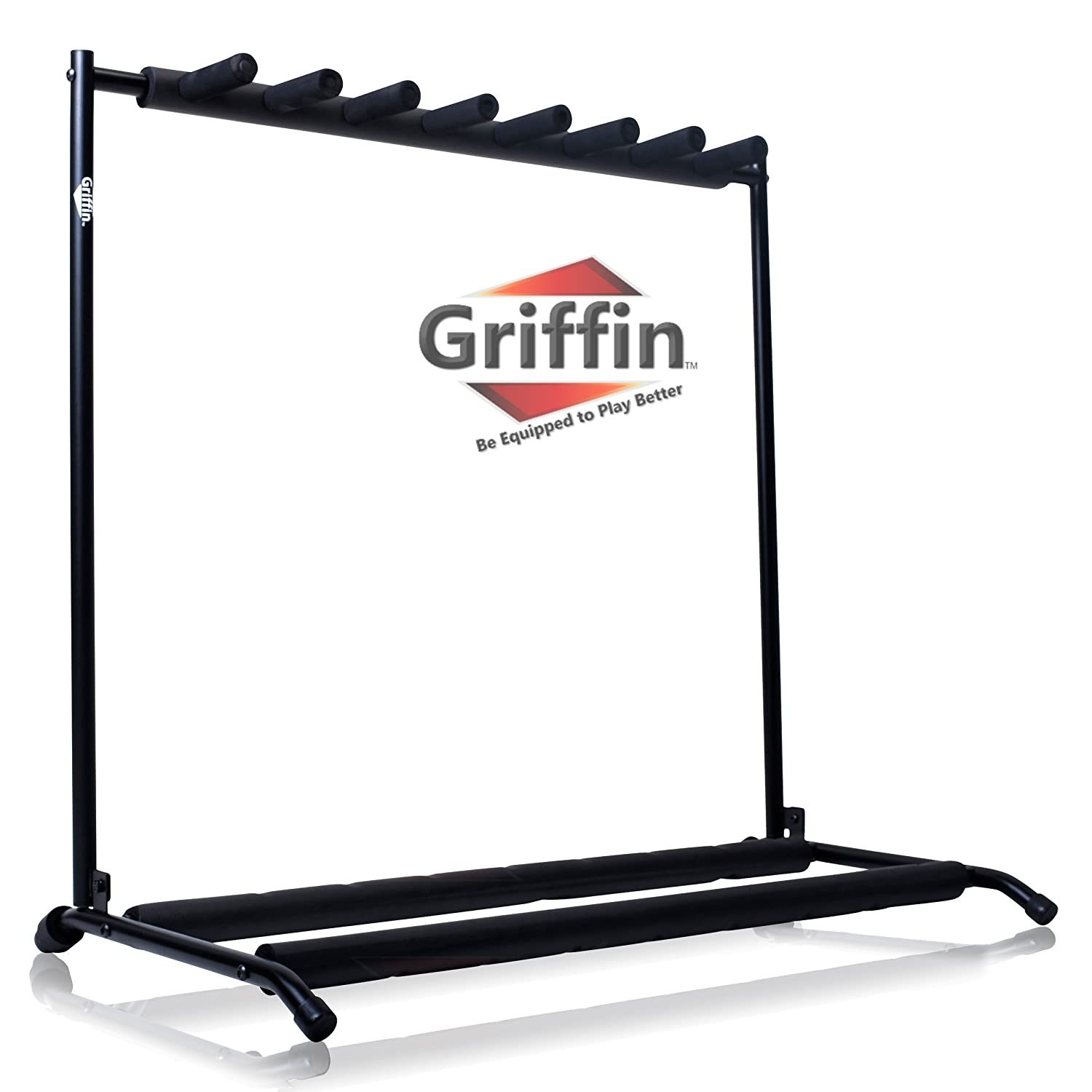 Seven Guitar Rack Stand by Griffin | Holder for 7 Guitars & Folds Up | For Electric, Acoustic & Classical Guitar, Bass & Ukulele | Ideal For Music Bands, Recording Studios, Schools, Stage Performers LG-AP34087