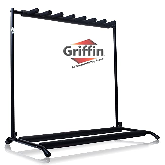 Seven Guitar Rack Stand by Griffin | Holder for 7 Guitars & Folds Up | For  Electric, Acoustic & Classical Guitar, Bass & Ukulele | Ideal For Music