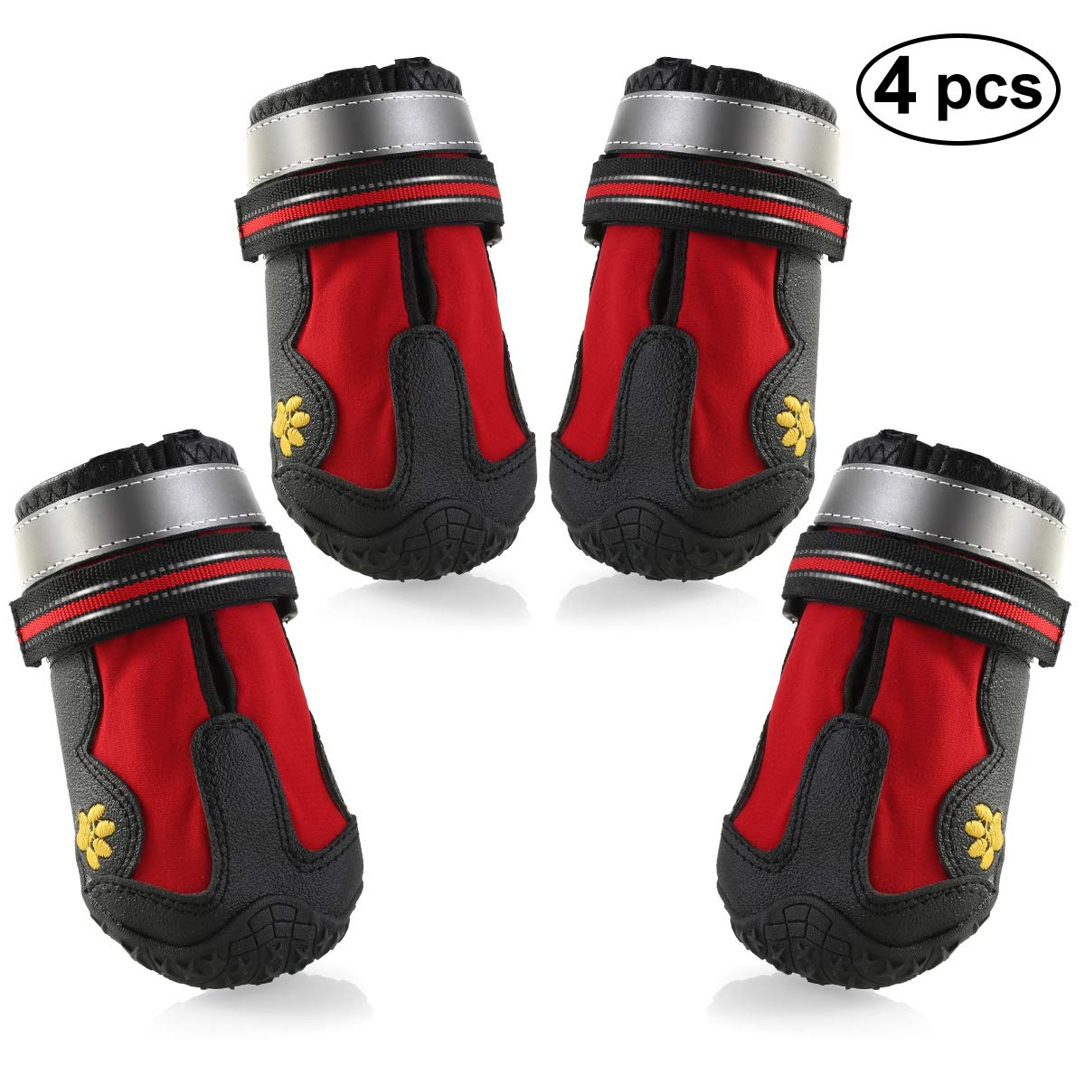 Tabpole Dog Boots Waterproof Pet Mesh Shoes, Breathable Dog Shoes Paw Protectors with Reflective and Rugged Anti-Slip Sole Red 4PCS