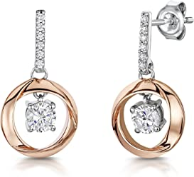 JOOLS by Jenny Brown ®- Sterling Silver and Rose Gold Drop Earrings- Featuring a Tree of Life rose gold And Cubic Zirconia Centre ppTgBbzce
