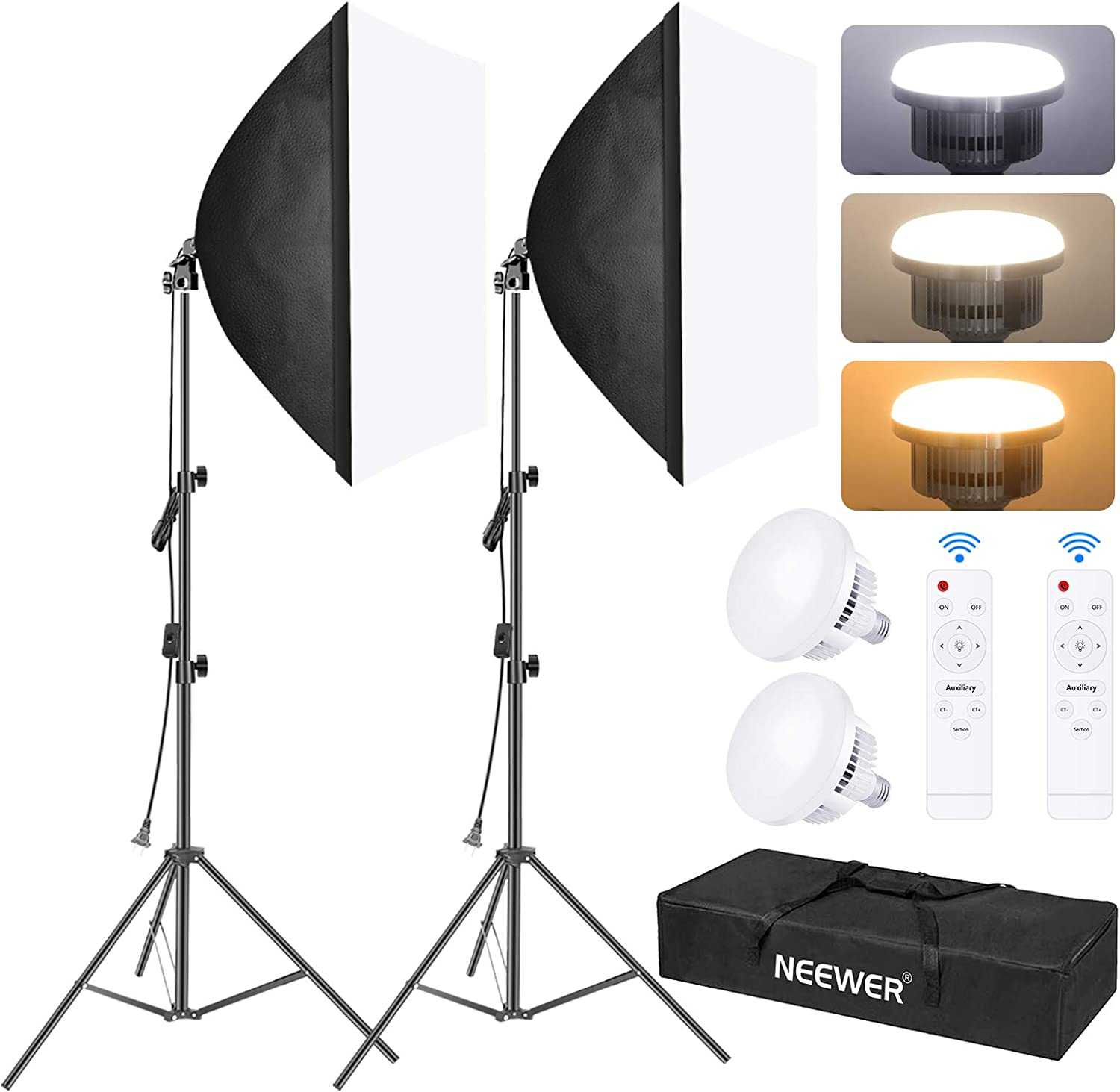Neewer 2-Pack Softbox Lighting Kit, 23x23inch/60x60cm Soft Box, Photo Studio Continuous Lighting System with 45W LED Bulb, Stand and Remote Control for Photo Studio Portrait Photography,Video Shooting