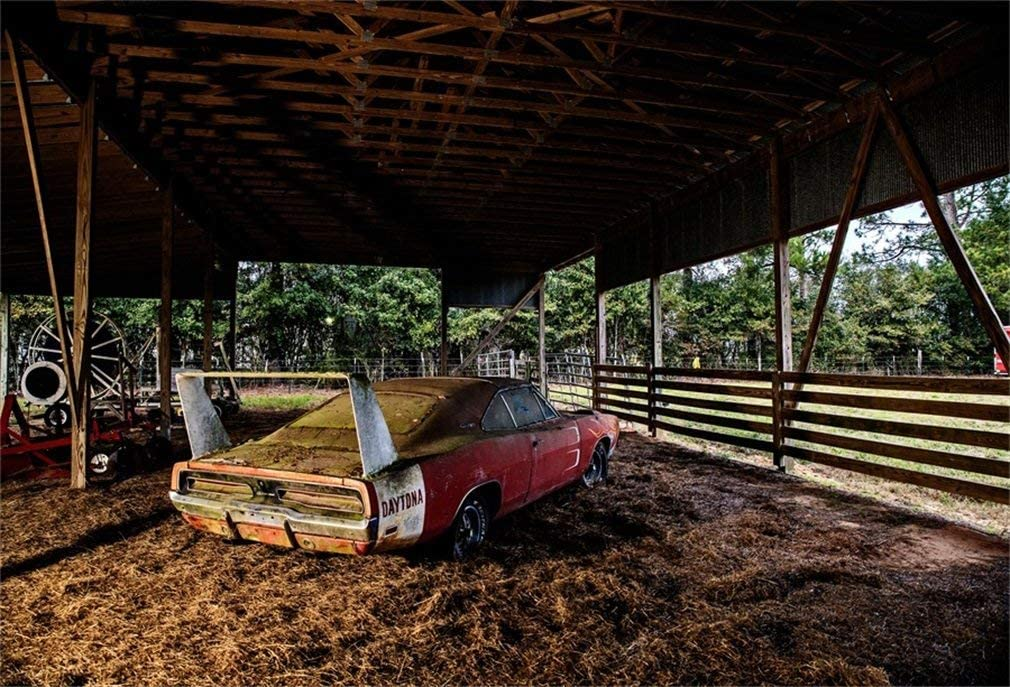 GoEoo 10x8ft Old Shabby Western Barn Hay Bale Background Countryside Wooden Fence Farmhouse Interior Broken Junk Car Hayrick Photography Backdrop Wallpaper Photos Prop