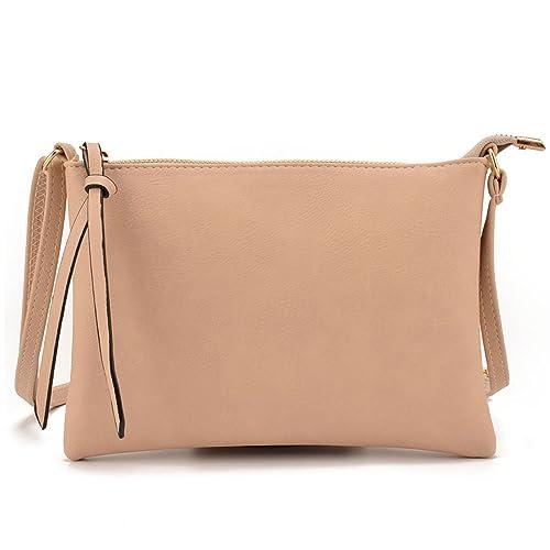 c66279cbc0 JIARUO Slim Light PU Leather Small Women Crossbody bag Purses Envelope  Handbag (Beige)