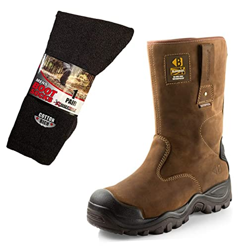 5f328480113 Buckler BSH010BR Waterproof Safety Rigger Boots & mad4tools Boot Socks Dark  Brown