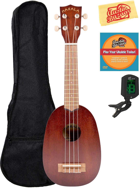 Kala KA-MK-P Makala Pineapple-Style Soprano Ukulele Bundle with Gig Bag, Tuner, and Polishing Cloth MK-P-COMBO-STD