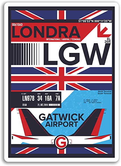 England Sticker Laptop Luggage #17162 2 x 10cm London Airport Vinyl Stickers