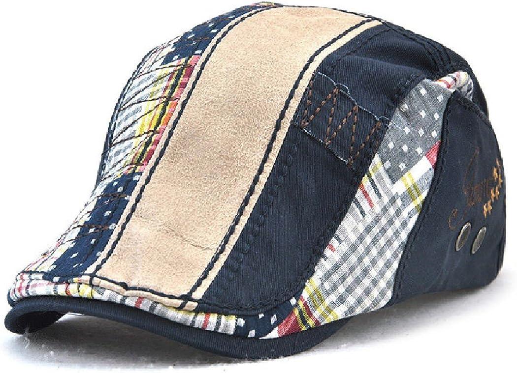 JAMONT Unisex Fashion Spring Patchwork Striped Flat Visor Newsboy Cap Beret Hat
