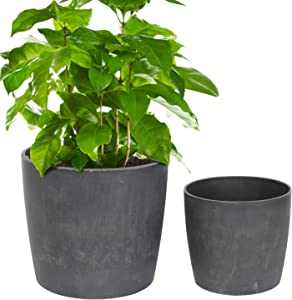 Worth Garden Planter Pot Set of 2 Indoor - Resin Flower Pot,Round Planters Decorative Pots for Plants ( Cement Grey ) 3-Year Warranty - 11'' Dia x 10'' H. & 8'' Dia. x 7.5'' H. - G941A02