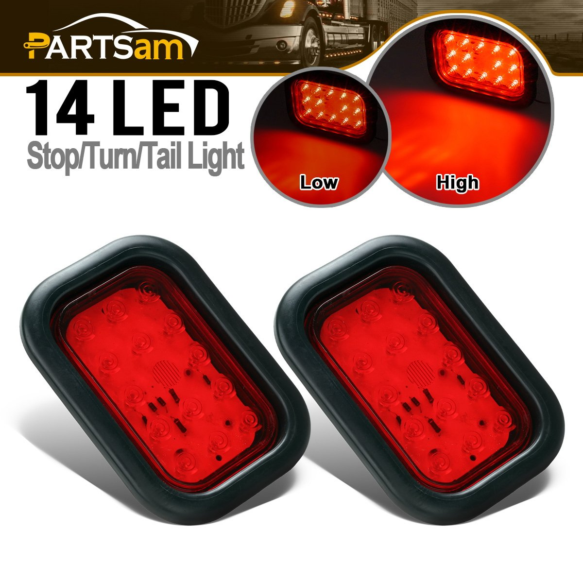 Partsam 2Pcs Universal Red 5''x3'' inch Rectangular Stop Turn Tail 14 LED Brake Truck Trailer Hitch Lights Sealed Led Marker Lights Flush Grommet mount Waterproof 12V, 5x3 rectangle tail lights by Partsam