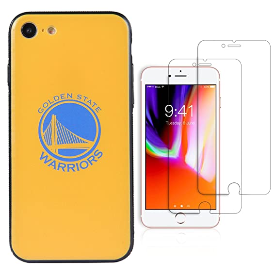 cheap for discount 77838 e5632 Sportula NBA Phone Case give 2 Tempered Glass Screen Protectors - Extra  Value Kit for iPhone 8 / iPhone 7 (Golden State Warriors)