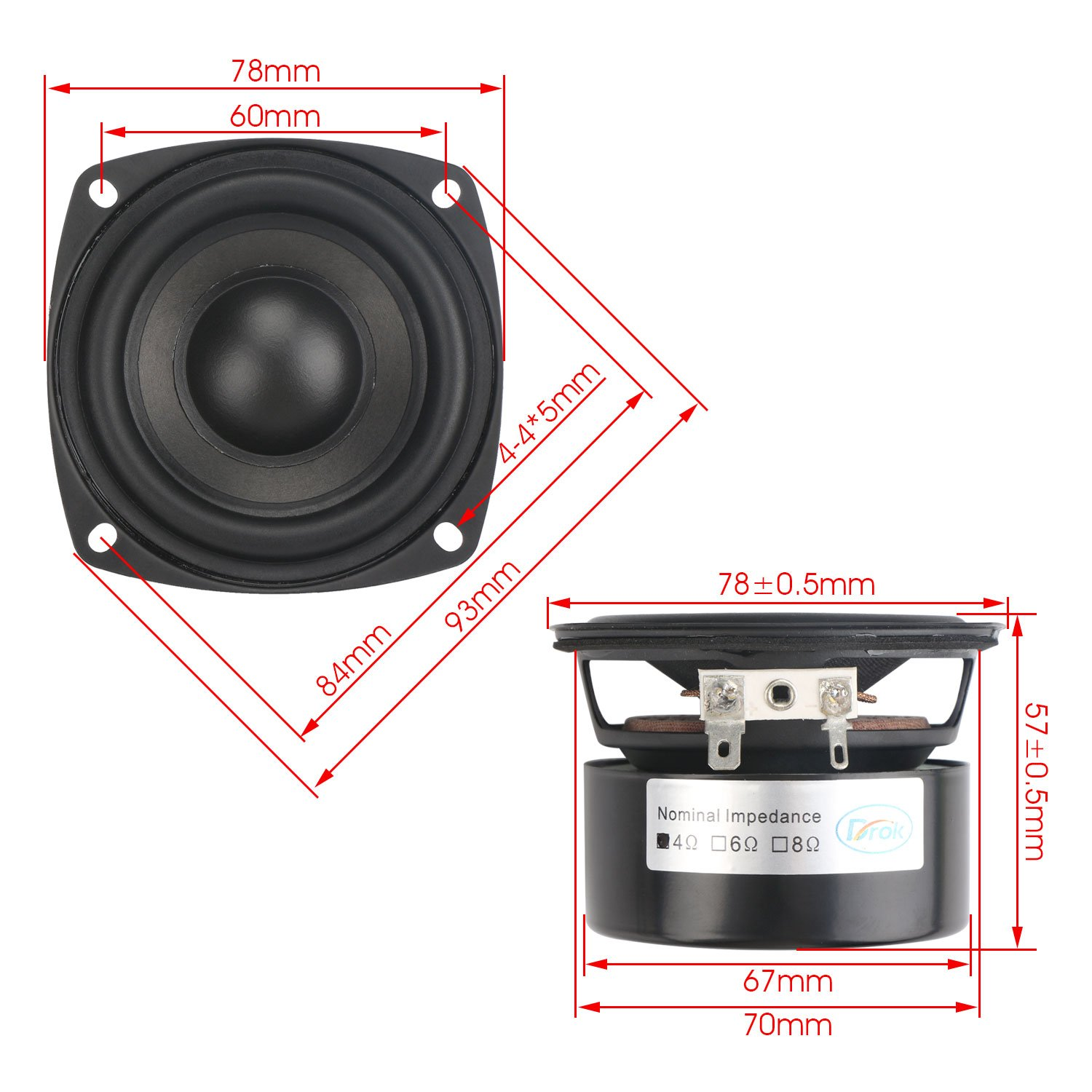 Drok 25w 3 Inch Square Shape Woofer Speaker Stereo Dual 4 Ohm Subwoofer Wiring Subs Also 2 Sub To A Loudspeaker Computer Compact Speakers Diy Home Car Audio Hifi Bass 90hz 5khz