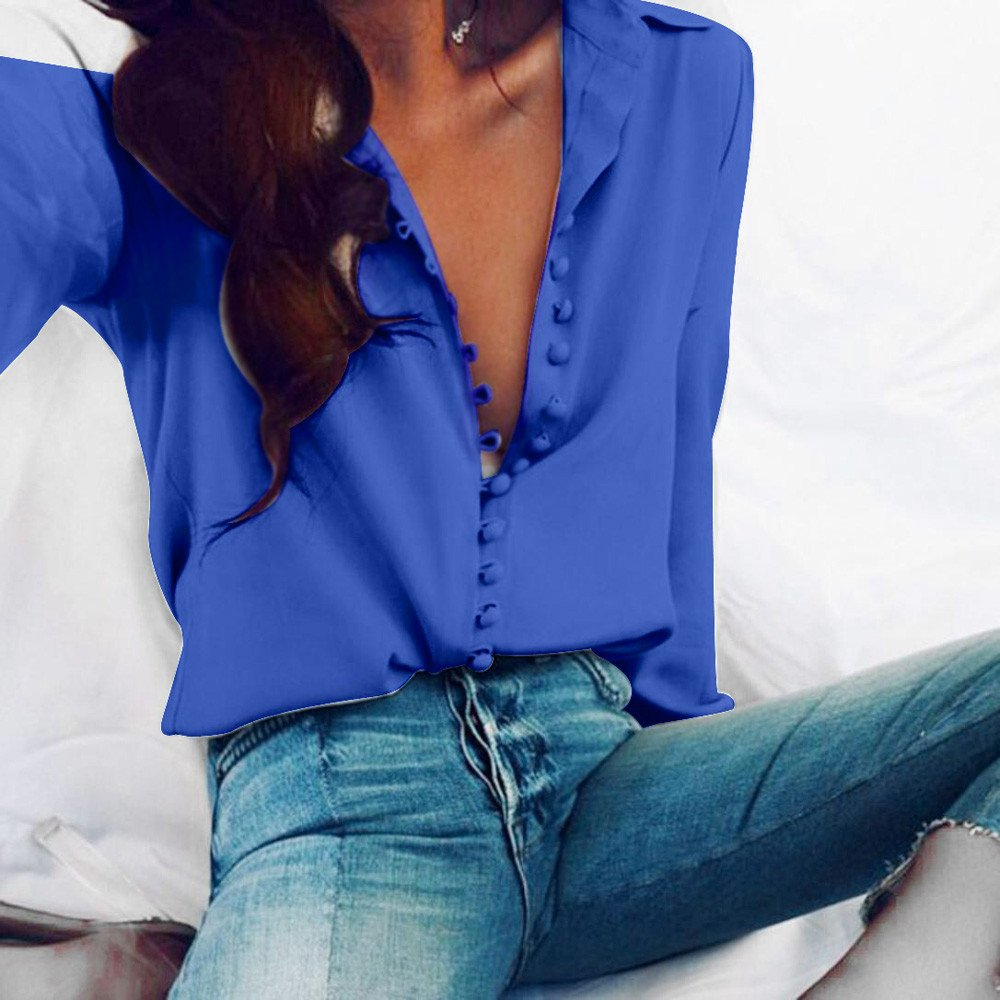 ❤ Camisas con Botón Mujer,Modaworld Camisa de Solapa de Manga Larga Blusa sólida Ocasional de Las Mujeres Camisetas Blusa Tops Elegantes de Fiesta Crop ...