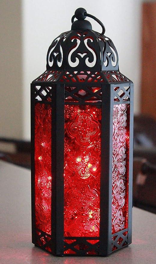 Red//White//Blue Vela Lanterns Medium Moroccan Style Table Lantern