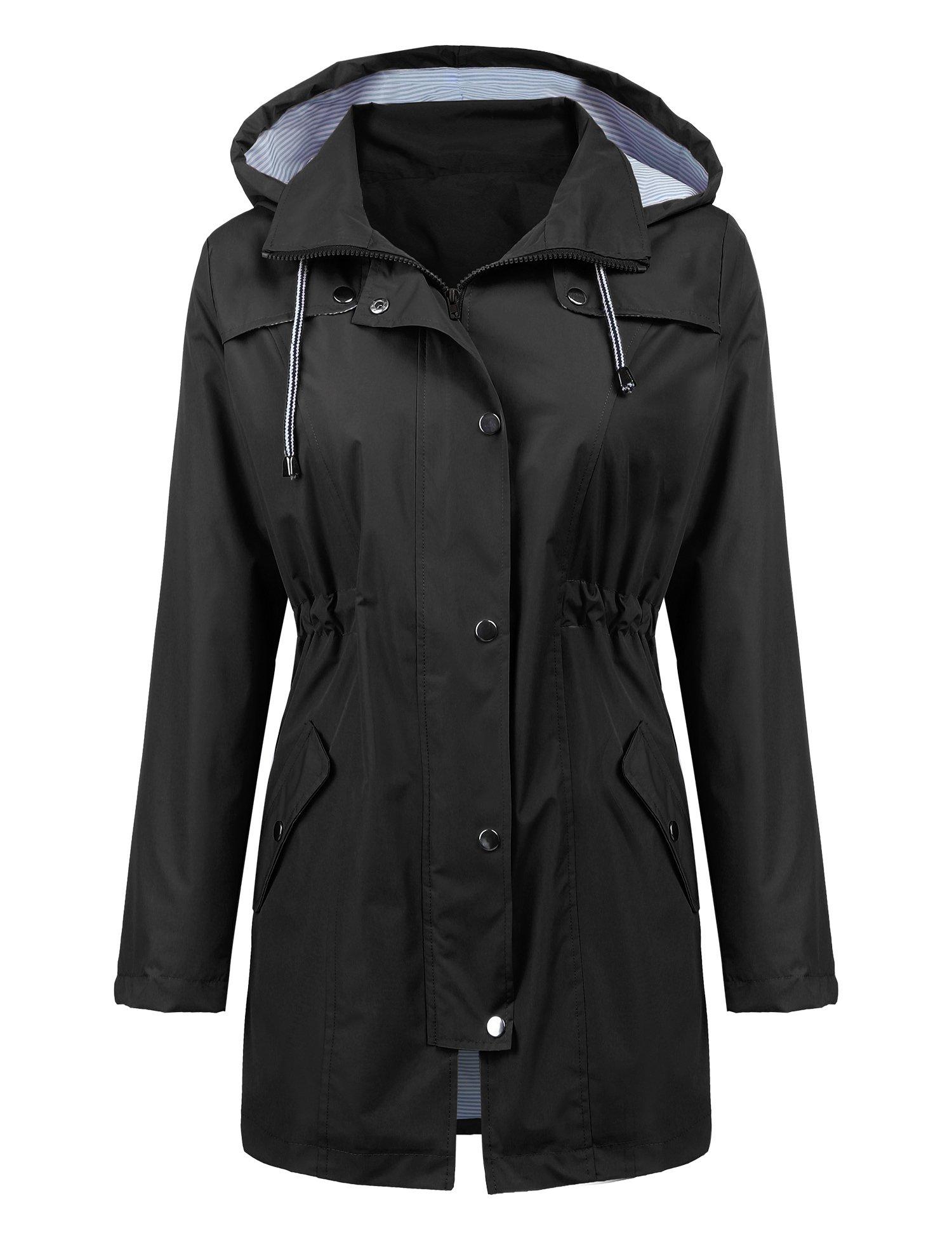 Women Rain Jacket Belted Adjustment Hooded Long Lightweight Packable Outerwear Waterproof Breathable Cotton Lined Raincoat Black M by LOMON