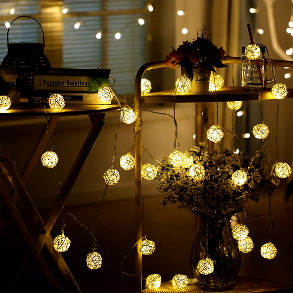 GIAGY 8.2 FT 20 Rattan Ball Fairy String Lights, 9.8FT 20 LEDs Battery Pinecone String Lights, Flexible Romantic Warm Lighting for Home,Party,Holloween,Thanksgiving Decor & Christmas Decor