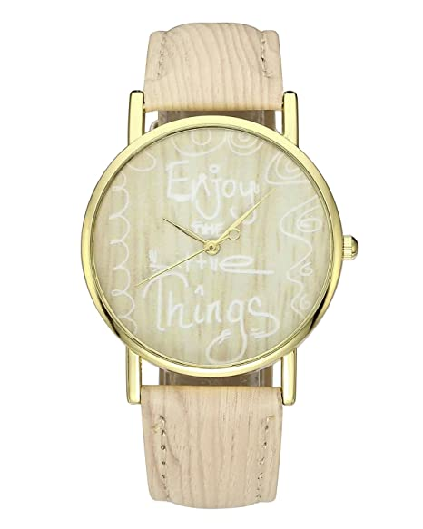jsdde Relojes, Damas Moda Reloj de Pulsera Enjoy The Little Thing Grabado Vetas Mujer