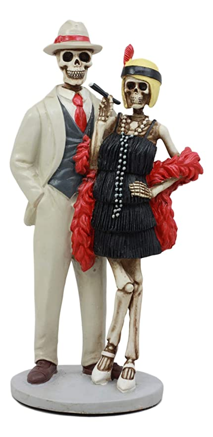 Ebros Roaring Twenties The Great Gatsby Fashion Couple Skeletons Figurine Dias De Muertos Day Of The Dead Skeleton Couple Decor Statue As Halloween