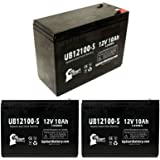 3x Pack - Schwinn S750 36 Volt Battery - Replacement UB12100-S Universal Sealed Lead Acid Battery (12V, 10Ah, 10000mAh, F2 Terminal, AGM, SLA)