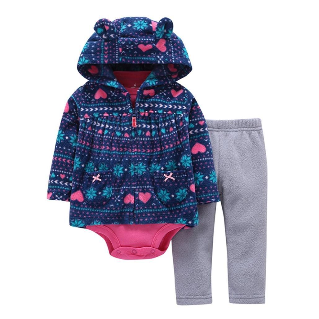 OverDose 3PCS Neugeborenes Baby Mädchen Jungen Fox Print Cartoon Druck Hoodie Jacke Mantel + Hosen + Strampler Weihnachten Outfits Set OverDoseBabyNov.13