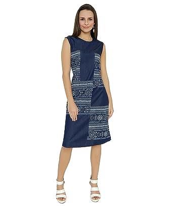 5ea01718bf5 Shokhi Dress for Women - One Piece Dress for Ladies - Denim Blue Dress -  Sleeveless Knee Length Dress Dresses for Ladies Dresses for Women: Amazon.in:  ...