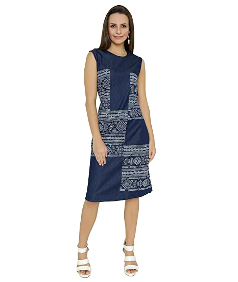 e8d25a657f7a Shokhi Dress for Women - One Piece Dress for Ladies - Denim Blue Dress -  Sleeveless Knee Length Dress Dresses for Ladies Dresses for Women   Amazon.in  ...