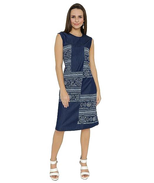 134377708d1d Shokhi Dress for Women - One Piece Dress for Ladies - Denim Blue Dress -  Sleeveless Knee Length Dress Dresses for Ladies Dresses for Women  Amazon.in   ...