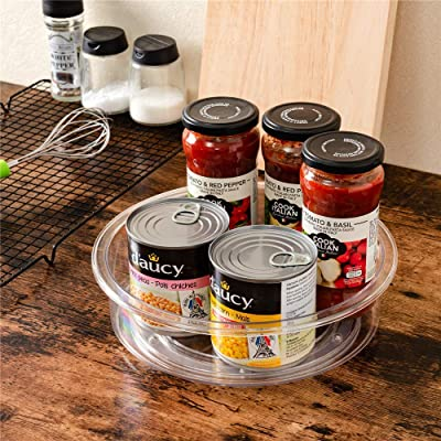9.8/'/' Kitchen Non-Skid Round Turntable Pantry Tray Jars Shelf Organizer Storage