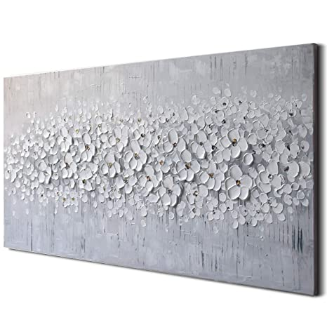 3 D Pure Gray White Flower Oil Painting 100 Percents Hand Painted Framed Canvas Wall Art Abstract Modern Contemporary Decoration Simple Life Beautiful Flowers Blossom Floral Picture Ready To Hang (24x48 Inch) by Art Ocean