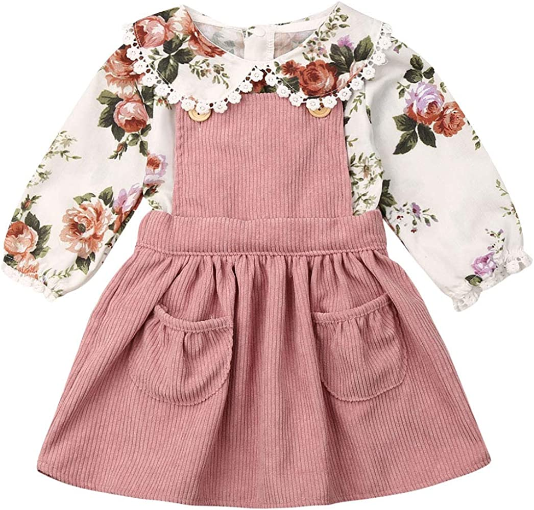 2PCS Toddler Baby Girl Autumn Clothes Floral Tops Blouse Dress Skirt Outfits Set