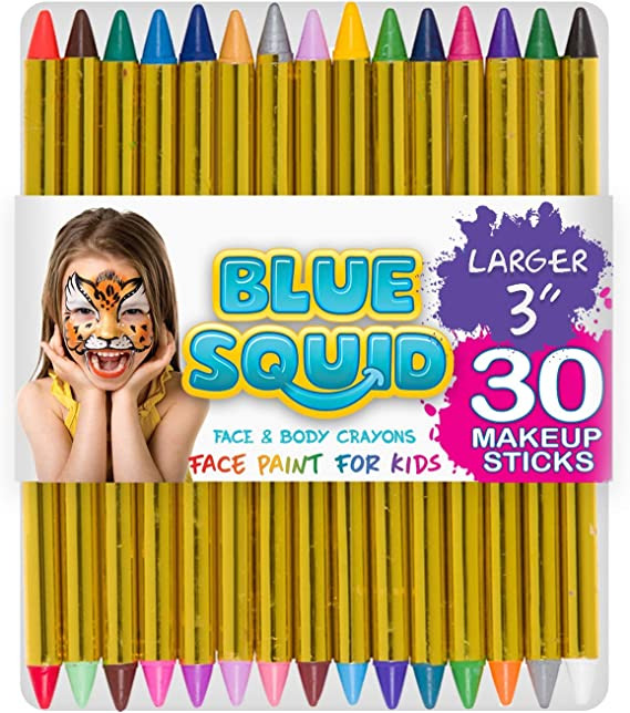 """Face Paint Crayons 30 for Kids, 30 Jumbo 3.25"""" Face & Body Painting Makeup Crayons, Safe for Sensitive Skin, 6 Metallic & 24 Classic Colors, Great for Birthday Party (1 Pack)"""