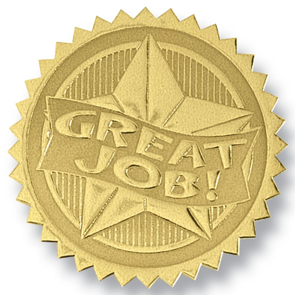 Deluxe Embossed Great Job Two-Tone Gold Foil Certificate Seals, 2 Inch, Self Adhesive, 102 Count