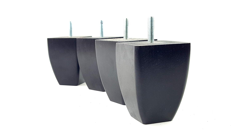 Knightsbrandnu2u 4x Füße Ersatz Möbel Beine Höhe 90mm aus massivem Holz für Sofas, Stühle, Hocker M8(8mm) tsp2031 schwarz