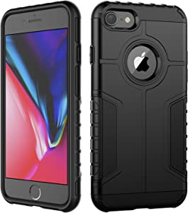 JETech Case for iPhone 8 and iPhone 7, Dual Layer Protective Cover with Shock-Absorption, Black
