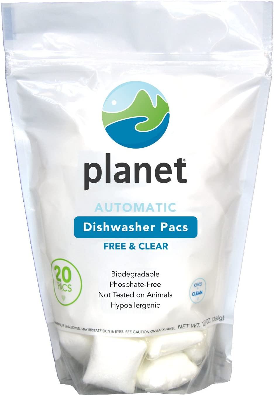 Planet Automatic Free & Clear Dishwasher Pacs, 12.7 Ounce