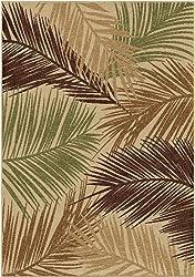 """Orian Rugs Four Seasons Indoor/Outdoor Bungalow Palms Area Rug, 7'8"""" x 10'10"""", Beige"""