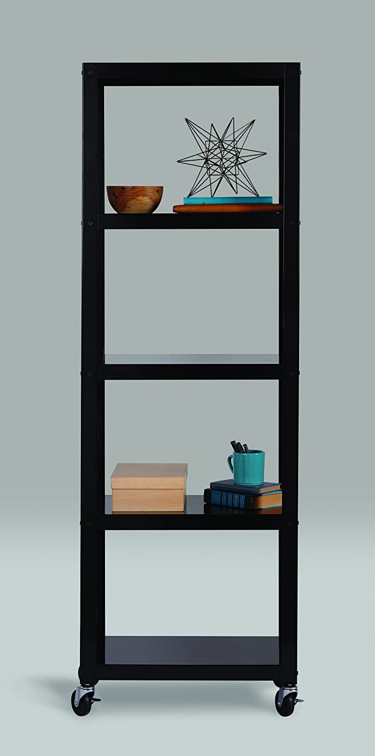 Space Solutions Home Office Collection Mobile Metal Bookcase, 72 x 24 x 14 , Black