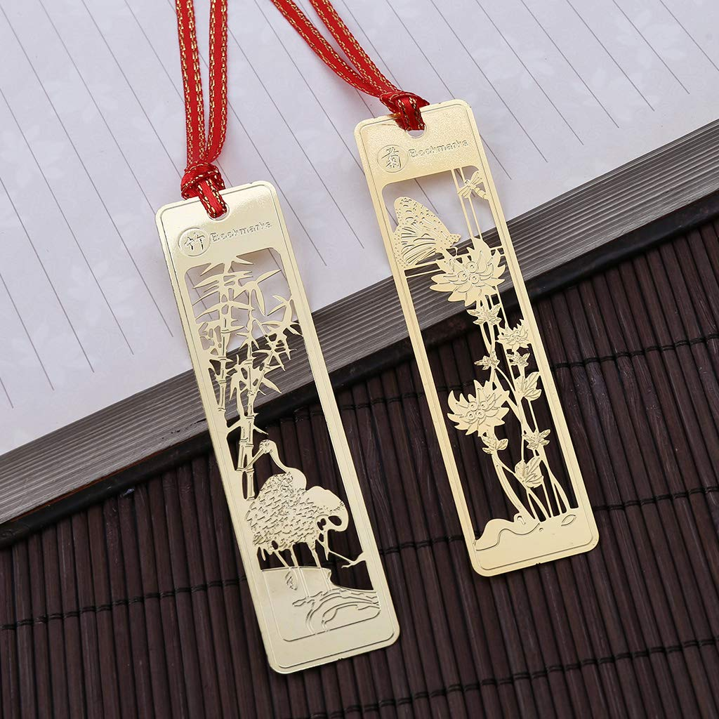 Beautiful Chinese Retro Style Hollow Metal Bookmark Traditional Note Memo Clip Paper Marker Student School Stationery